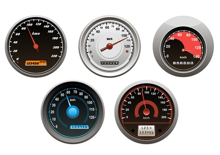 dashboard background: Car speedometers set isolated on white background for design