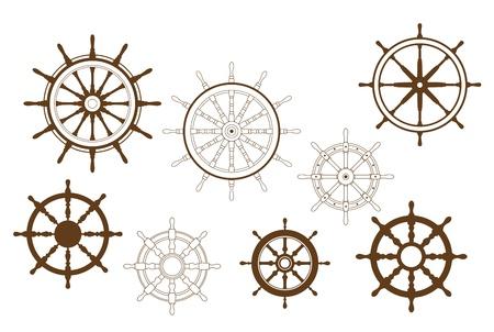 Kierownice ustawione dla heraldyki lub projektu morskiego