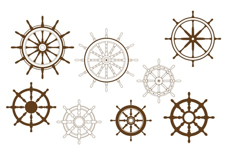 water wheel: Steering wheels set for heraldry or marine design Illustration
