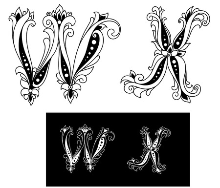 Title retro letters W and X in floral style Stock Vector - 22365155