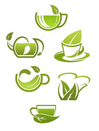 Herbal tea cups with green leaves isolated on white background for drink design Illustration