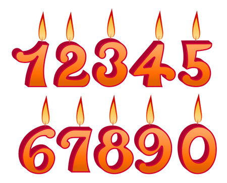 flickering: Birthday candles set with numbers and figures