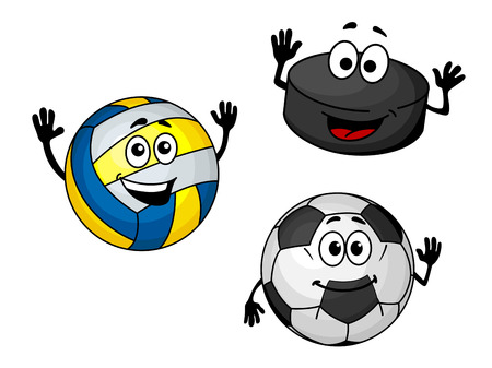 Hockey puck, volleyball and soccer balls in cartoon style for sports design Stock Vector - 22365162