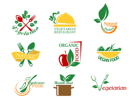 delicious: Vegetarian food symbols with fruits and vegetables for design Illustration