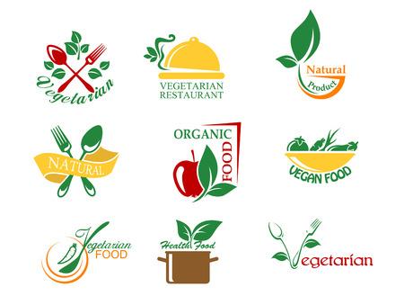 Vegetarisch voedsel symbolen met groenten en fruit voor het ontwerp Stock Illustratie