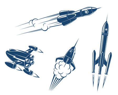 Spaceships and rockets flying in space. Vector illustration Vector