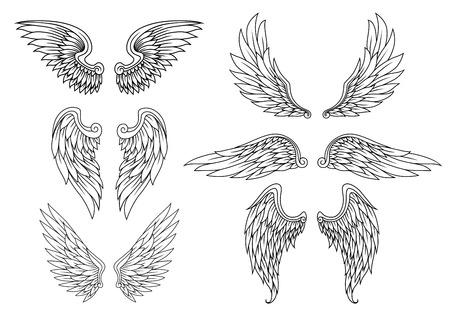 紋章の翼の入れ墨またはマスコット デザインの設定  イラスト・ベクター素材