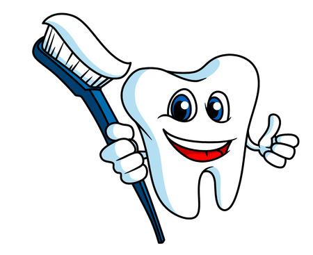 Dente sorridente no estilo cartoon com escova de dentes para o conceito de higiene