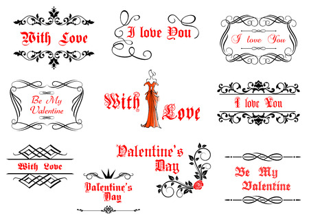 Calligraphic elements with love and valentines details for holiday design Vector