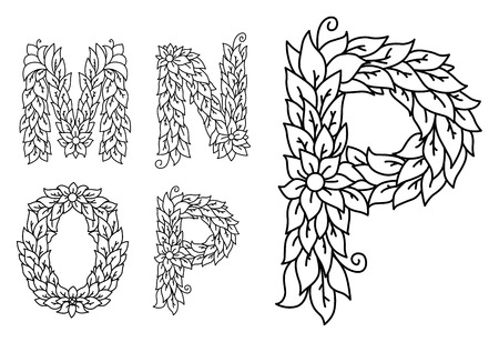 floral letters: Floral letters M, N, O and P isolated on white background Illustration