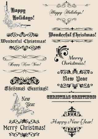 Vintage Christmas and New Year headers with calligraphic elements Vector