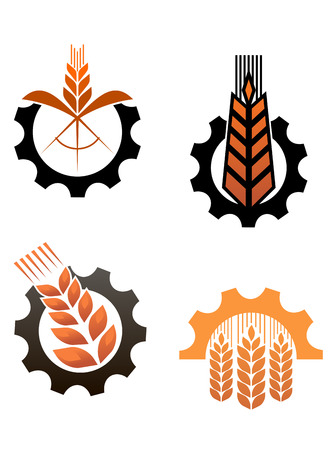 agriculture industrial: Agriculture icons with cereal grains and industrial gears Illustration