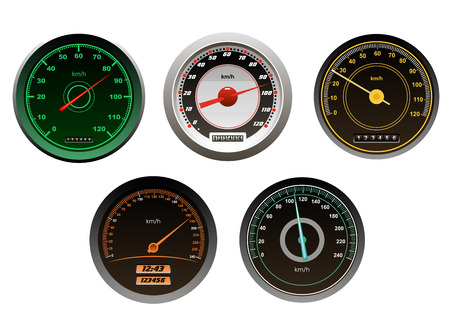 Racing cars speedometers set isolated on white background for sports design Vector