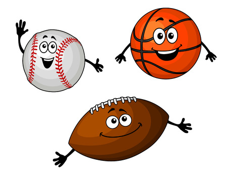 Baseball, basketball and rugby balls set in cartoon style Vector
