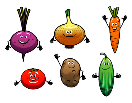 Beet, onion, carrot, tomato, potato and cucumber vegetables in cartoon style Vector