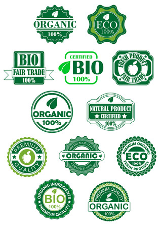 Natural and bio labels for retail or sale design Vector