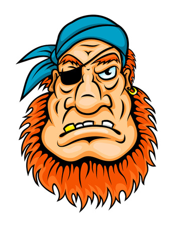 sea robber: Pirate with red beard in cartoon style for mascot design