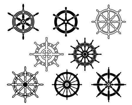 rudder ship: Steering wheels set for heraldry design isolated on white background Illustration