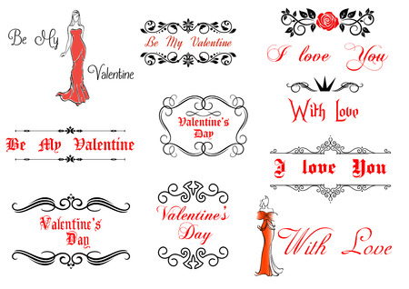 Valentines Day elements and decorations for holiday design Vector