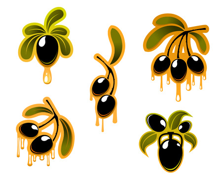Black olives symbols set with oil for food design Vector
