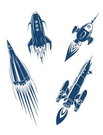 cohetes: Naves espaciales y naves espaciales establecidas en el estilo de dibujos animados Vectores