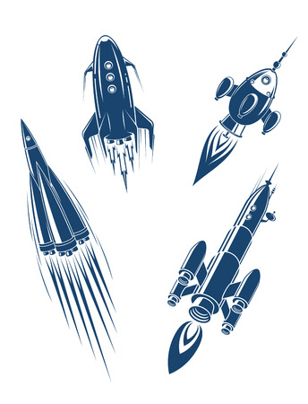 spacecraft: Space ships and spacecrafts set in cartoon style