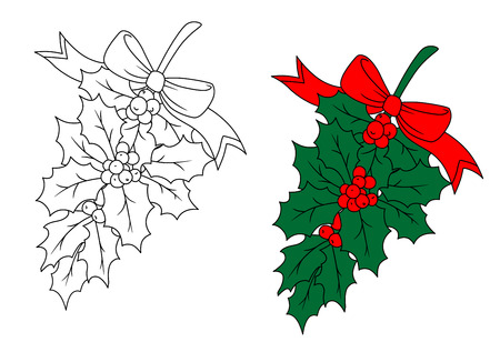Christmas holly branch with red berries for holiday design Vector