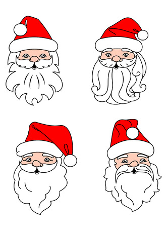 winter clothing: Christmas Santa Clouses set for holiday design