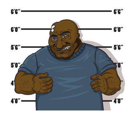 felon: Afro-american prisoner in cartoon style after arrest