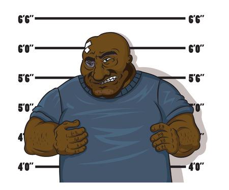 incarceration: Prisionero afroamericano en el estilo de dibujos animados despu�s de la detenci�n Vectores