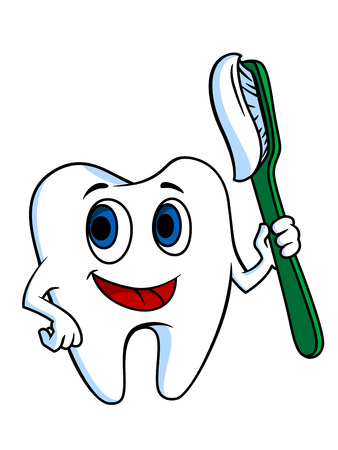 appointments: White tooth with tooth-brush for hygiene concept Illustration