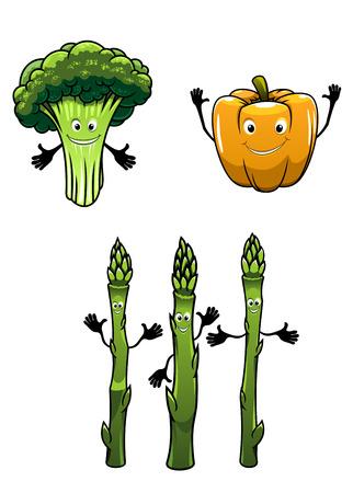 spinat: Broccoli, Spinat und Paprika Gem�se isoliert auf wei�em Hintergrund Illustration