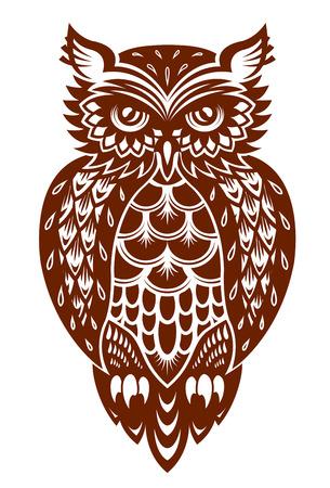 マスコットまたは別の設計の装飾的なスタイルで茶色のフクロウ  イラスト・ベクター素材