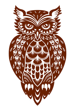owl symbol: Brown owl in ornamental style for mascot or another design Illustration