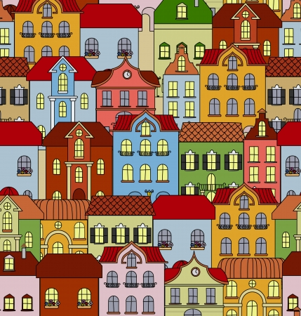 Seamless pattern with retro buildings and houses for background or wallpaper design Stock Vector - 22365269