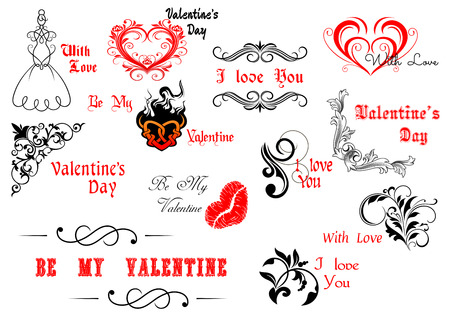 Valentines Day calligraphic and decorative elements for holiday design Vector