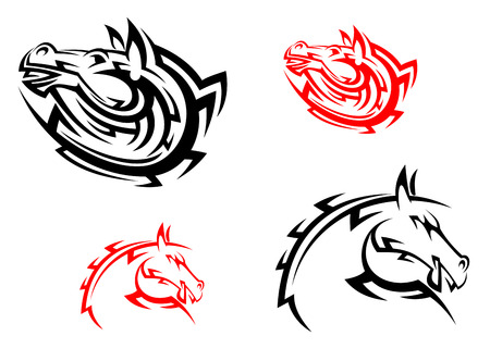 Tribal mascots with red and black horses for design Vector