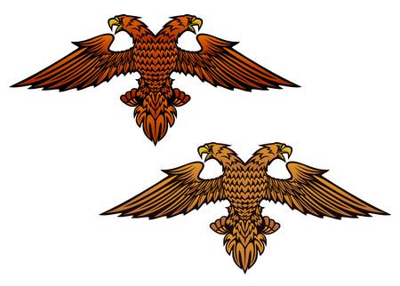 Double headed eagle for heraldry or mascot design Illustration