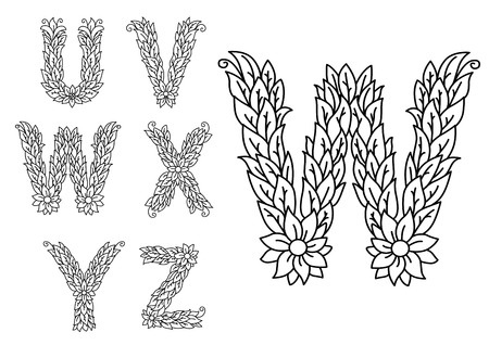 floral letters: U, v, w, x, y and z floral letters isolated on white for design
