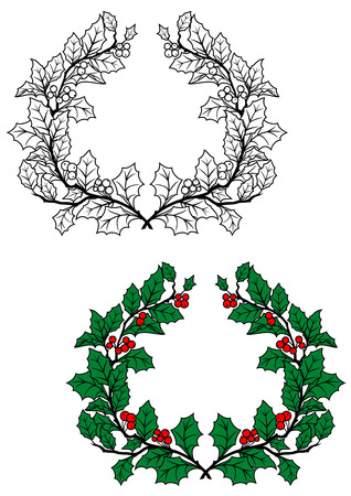 garlands: Christmas holly wreath with green leaves and red berries in retro style