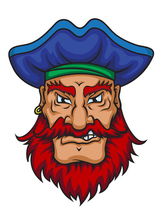 privateer: Old pirate captain in cartoon mascot style isolated on white background