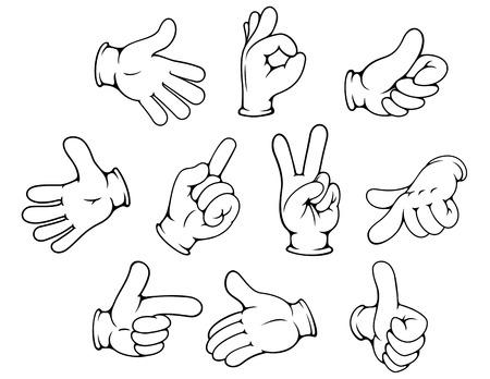 conjunto: Gestos de la mano de la historieta fijaron aislado diseño publicitario en el fondo blanco