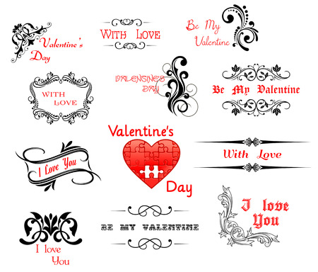 Love and Valentine Day calligraphic headers for holiday design Vector
