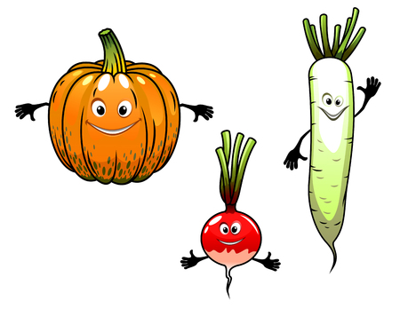 Radish, turnip and pumpkin vegetables with smiles in cartoon mascot style for bio food design Vector