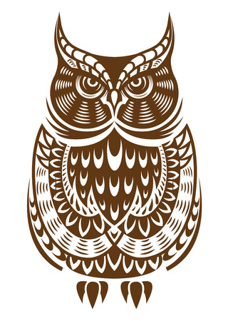 hunter: Brown owl with decorative ornament isolated on white background Illustration