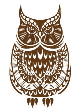 sowa: Brown sowa z dekoracyjnym ornamentem na białym tle