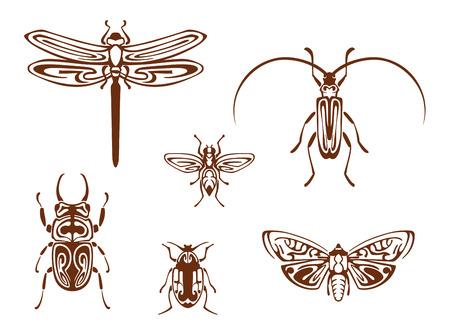 Insectes dans le style d'ornement tribal pour la conception de tatouage. Libellule, papillon, abeille, bug et sauterelle Banque d'images - 22598975