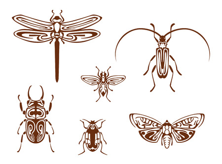 cartoon tick: Insects in tribal ornamental style for tattoo design. Dragonfly, butterfly, bee, bug and grasshopper