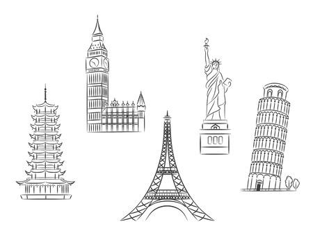 여행 및 여행 개념 디자인을위한 스케치 스타일에서 설정 여행 명소
