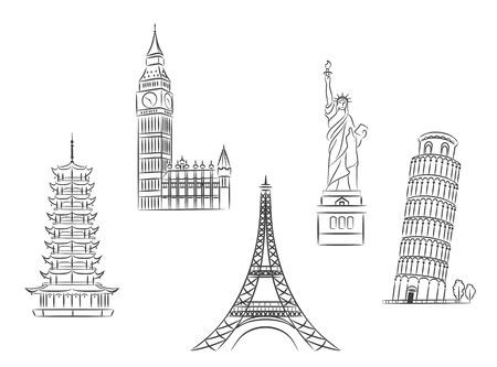 landmarks: Travel landmarks set in sketch style for trip and journey concept design